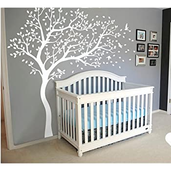 Wall Art Decoration Wall Mural Vinyl Wall Decal Tree and Flying Birds  Cherry Blossom Tree Wall