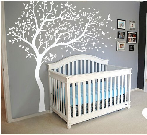 Wall Art Decoration Wall Mural Vinyl Wall Decal Tree and Flying Birds Cherry Blossom Tree Wall Sticker for Kids Room (Blossom Time Pattern)