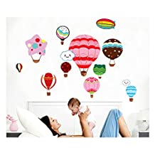 High Quality Adhesive Rooms Walls Vinyl Stickers / Murals / Decals / Tattoos / Transfers For Kids Playrooms / Nurseries With 11pcs Different Hot Air Balloons And 2pcs Clouds Designs In Many Different Colours By VAGA