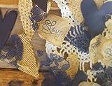 Burlap and Lace Silk Rose Petals Rustic Wedding Confetti in Navy Blue