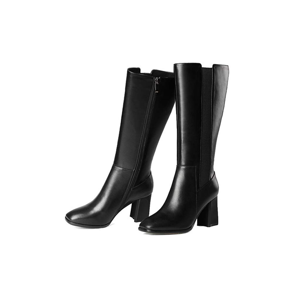 Hoxekle Winter Fashion Black Faux Cow Leather Mid Calf Boots Woman Elastic Band /& Zip High Square Heel Shoes