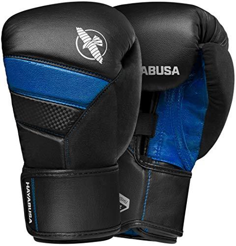 Hayabusa T3 Boxing Gloves | Men and Women | Black/Blue |12oz | Bag - Glove Leather Down