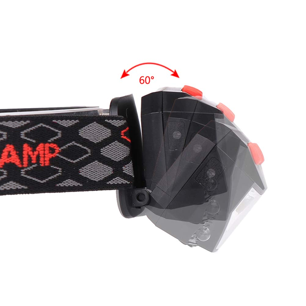 Camping Nacht-Taschenlampe mit 6 einstellbaren Modi 500 lm 5 W Crazy-Store LED-Stirnlampe mit eingebautem Akku Beleuchtungszubeh/ör f/ür Angeln rot-wei/ß