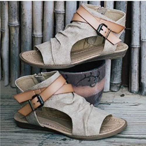 Plates A Mode Sandales Plat Lacets Minetom Femme Ouverts Marron Sandales Bouts Tongs Sandales Femmes Chaussures Été qwwE6H