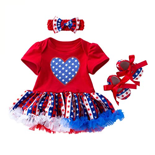 3 Pcs Toddler Baby Girls 4th of July Stars Print Pleated Dress + Headbands + Shoes Set Outfit Red -
