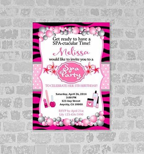 Amazon Com Spa Salon Birthday Party Invitation Pink And Black