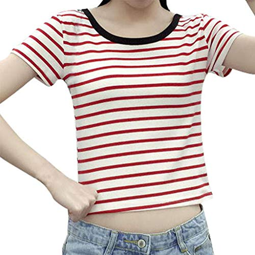Jiayit Women's Fashion Sexy O-neck Short Shirt Short-sleeved Blouse Striped Print Leaking Navel T-shirt