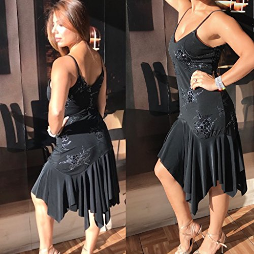 tango dress, black, asymmetrical hem by Bailemosdancewear