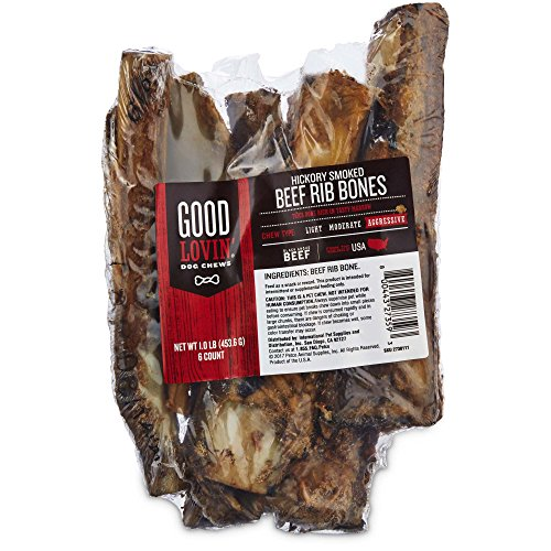 Good Lovin' Hickory Smoked Rib Bone Dog Chew, Pack of 6, 1 LBS