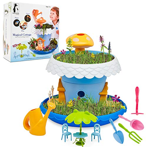 Fairy Garden Kit, DIY Fairy Garden Kit for Girls and Boys Complete With All Supplies and Accessories Including Flowerpots, Base, Watering Can, Soil, Seeds, Furniture, and Mini Gardening Tools ()