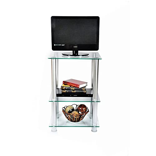 29.5-Inch Extra Tall Glass and Aluminum LCD and Plasma TV Stand Clear 29.5 H x 19.7 W x 15.7 D