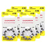 Hearing Aid Battery A10/B10_60 Evergreen 60pk, Size A10, Zinc Air