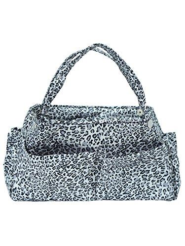 (Black & White Leopard Print Organizer Travel Bag Tote)