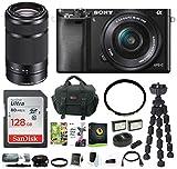Sony Alpha a6000 Mirrorless Camera w/16-50mm & 55-210mm Lenses & 128GB Bundle