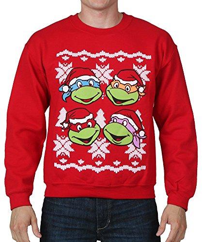 Teenage Mutant Ninja Turtles Faces Adult Red Ugly Christmas Sweatshirt (Adult XX-Large) - Adult Turtle