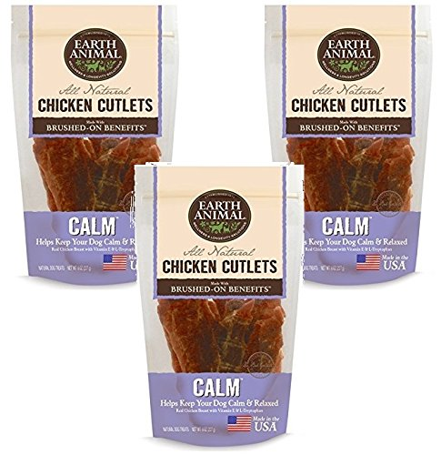 Earth Animal Calming USA Chicken Jerky Dog Treats, 8 Ounces (3 Pack)