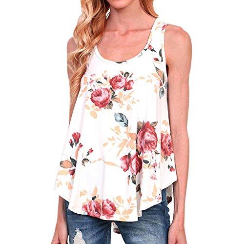 NikuyaWomen Floral Print T-Shirt Sleeveless Tank Tops O Neck Backless Blouse (Animal Print Georgette Tunic)