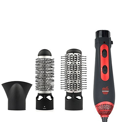 Multi-function Straight Hair Comb, Supreme 3-in-1 Hot Air Styling Brush, Hair dryer,3-position switch,,Red/Black