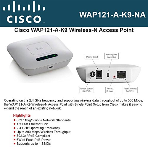 CISCO SMALL BUSINESS 1 WAP121-A-K9-NA WAP121 WL N ACCESS POINT WITH POE by Cisco (Image #1)