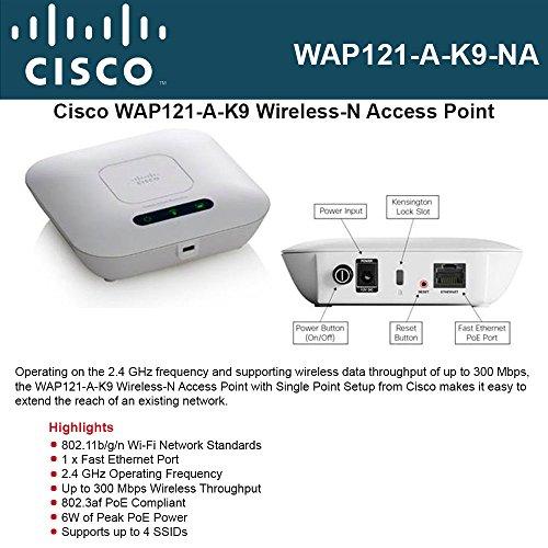 CISCO SMALL BUSINESS 1 WAP121-A-K9-NA WAP121 WL N ACCESS POINT WITH POE by Cisco
