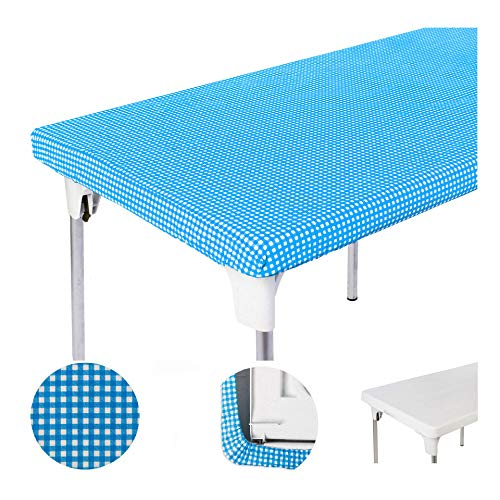 "TopTableCloth Picnic Table Cover Blue Checkered Elastic Table Cloth on The Corner for Folding Table 6ft 30""x72"" Outdoor TableCloths Waterproof Stay Put Party Table Covers Plastic Tablecloth Birthday"