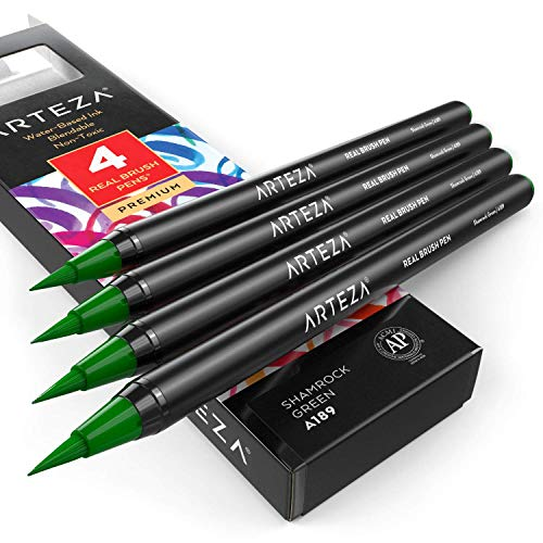 ARTEZA Real Brush Pens (A189 Shamrock Green) Pack of 4, for Watercolor Painting with Flexible Nylon Brush Tips, Paint Markers for Coloring, Calligraphy and Drawing