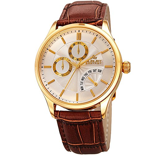 August Steiner Men's Quartz Stainless Steel and Leather Casual Watch, Color:Brown (Model: AS8209YGBR) ()