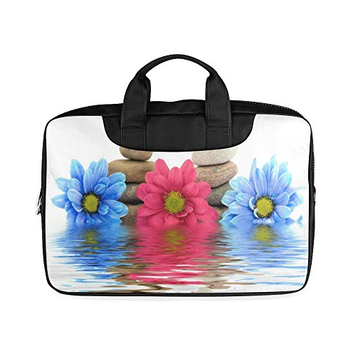 Laptop Notebook Pink Blue Flower Daisy and Stones Handle Sleeve Bag Case Cover for 13 inches MacBook Pro(Twin Sides Printing)