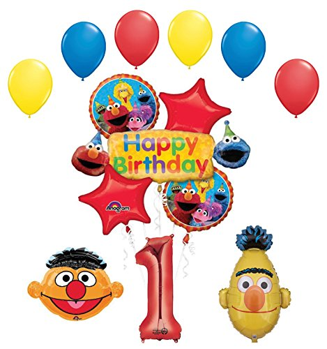 - Bert and Ernie 1st Birthday Party Supplies and Balloon Bouquet Decorations