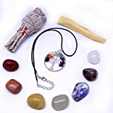 Tree of Life Crystal Pendant Necklace, Reiki Infused 7 Chakra Gemstone Set, White California Sage, Palo Santo Smudge Kit in Gift Bag with Instructions