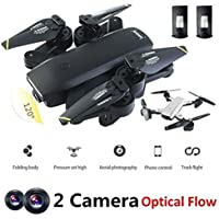 Mini Drone with Camera Live Video BIZONOD SG700 WIFI FPV Rc Quadcopter with Dual 2.0MP Optical Flow Camera Auto-photograph Folding RTF Remote Control Helicopter Toy for beginners Kids,Bonus Battery
