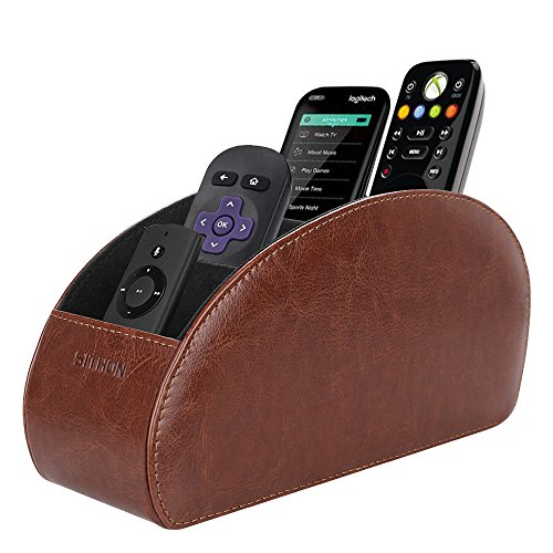 SITHON Remote Control Holder with 5 Compartments - PU Leather Remote Caddy Desktop Organizer Store TV, DVD, Blu-Ray, Media Player, Heater Controllers, Brown (Remote Tv Organizer Caddy)