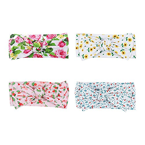 Baby Headbands Knotted Girls Turban Soft Cotton Floral Hairbands For Newborn Infant Toddlers Headwarps Pack Of 4 by NCMAMA