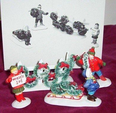 Dept 56 The Original Snow Village - Wreaths for Sale Set of 4 Figurines Retired
