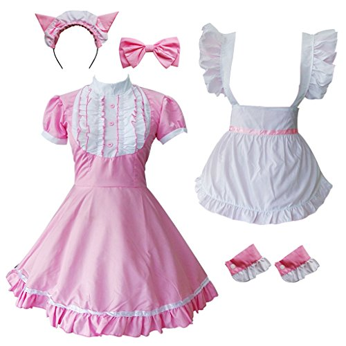 Colorful House Women's Cosplay Cat Ear French Apron Maid Fancy Dress Costume (Medium, Pink (with Petticoat)) by Colorful House (Image #4)