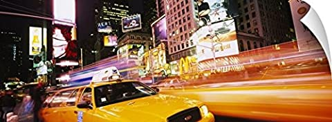 Canvas On Demand Wall Peel Wall Art Print entitled Yellow taxi on the road, Times Square, Manhattan, New York City, New York (72 Hours New York Times)