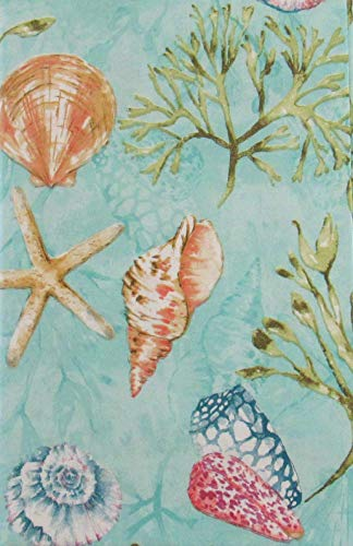 - Seashells and Seaweed in the Sea Vinyl Flannel Back Tablecloth (60