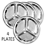 Round Stainless Steel Divided Plates (4-Pack); 10-Inch 3-Section Divided Plates for Kids, Camping, Mess Trays & More