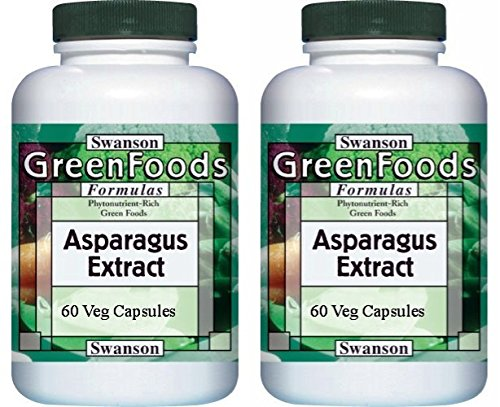 Swanson GreenFoods Asparagus Extract -- 2 Bottles each of 60 Vegetarian Capsules ()