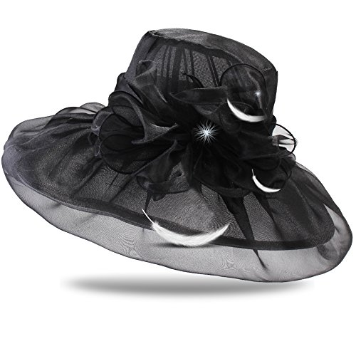FURTALK Summer Women Sun Hat Foldable Bowknot Organza Church Dress Derby Hat for Outdoor Weddings by FURTALK
