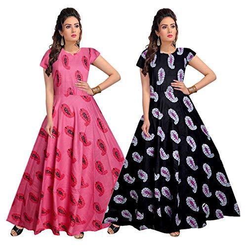 jwf Women's Maxi Dress (Multicolour, Free Size) – Pack of 2