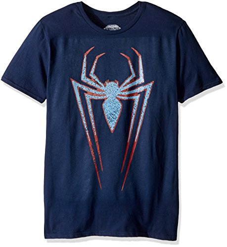 Marvel Men's Spider-Man Short Sleeve Graphic T-Shirt, Navy, Large (T Shirt Spiderman)