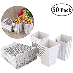 NUOLUX Popcorn Boxes Cardboard Candy Container 50pcs Silver Color