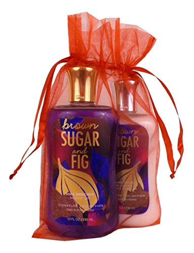 Bath & Body Works Brown Sugar & Fig Gift Set of Shower Gel and Body Lotion (Fig Lotion Gift Set)