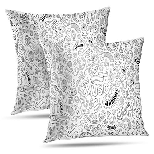 Sexy Glam Rock Guitar - Hdmly Doodle Decorative Throw Pillow Covers Cushion Cover, Sketchy Doodles Cartoon Music Objects and Symbols Dance Set of 2 Pillow Cases for Home Decor Sofa Couch Bed Cotton 18