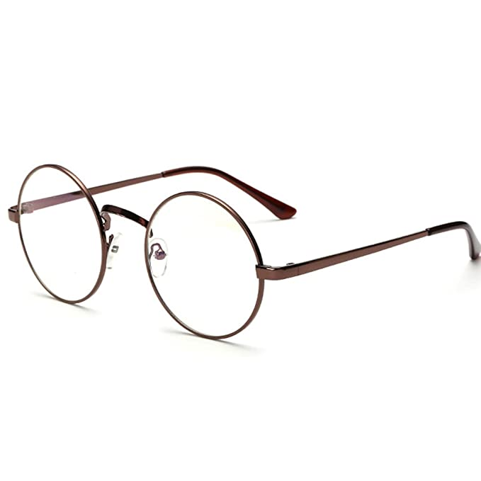 245f289c6 Unisex Retro Glasses Round Metal Frame Clear lens Sunglasses Vintage Geek  Eyeglasses Brwon: Amazon.co.uk: Clothing