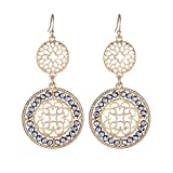 Girl Era Gourd Shape Mutil Rhinestone,Filigree Flowers Round Drop Earrings