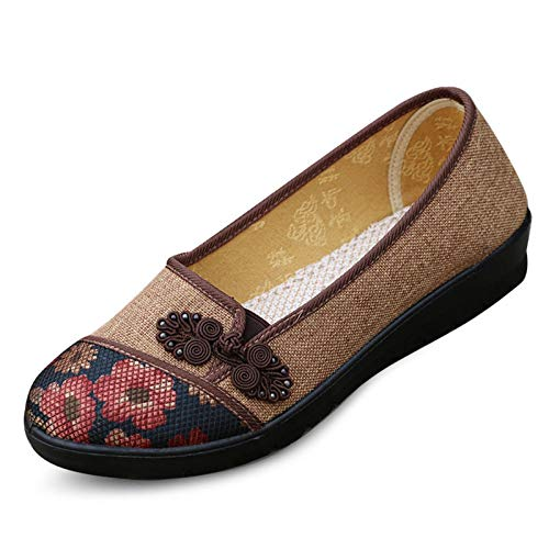 On Buttons Cotton Marrone Shoes Grandi Lavoro Qiusa Slip Da 41 Print Mocassini Dimensione Eu Di Chinese Women colore Knots Marrone Dimensioni 0CwdnIqd