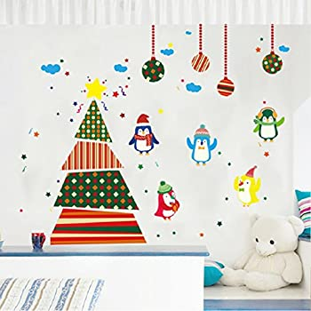 Amazoncom Ribbon Christmas Tree Decal Holiday Removable Wall - Christmas wall decals removable