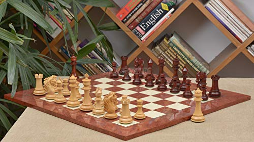 Combo of French Warrior Luxury Chess Set in Bud Rose & Box Wood & Red Ash Burl and Maple Chessboard - 4.9